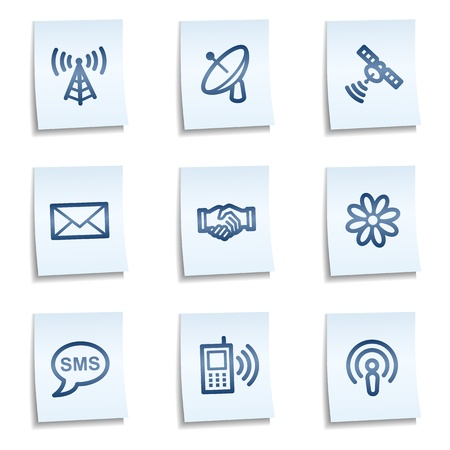 Communication  web icons, blue notes Иллюстрация