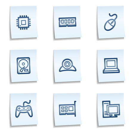 Computer web icons, blue notes Illustration