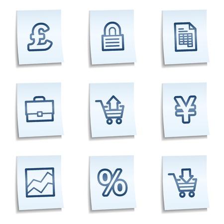 E-business web icons,  blue notes Vector