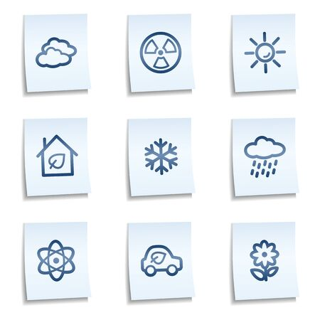 Ecology web icons set 2,  blue notes Vector
