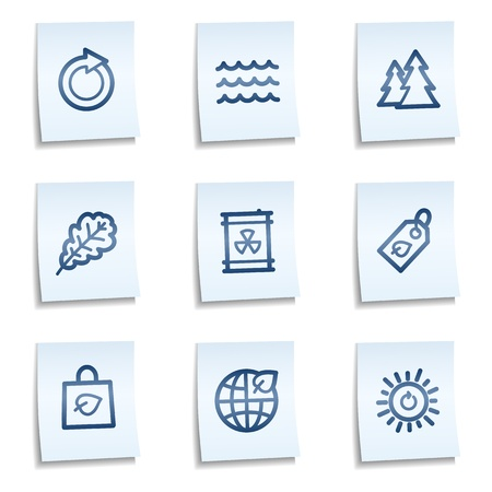 Ecology web icons set 3,  blue notes Vector