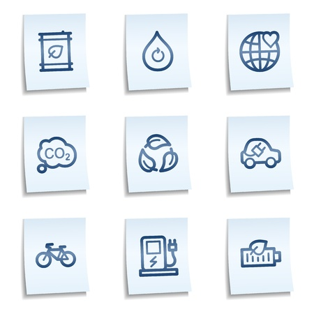 Ecology web icons set 4, blue notes Vector