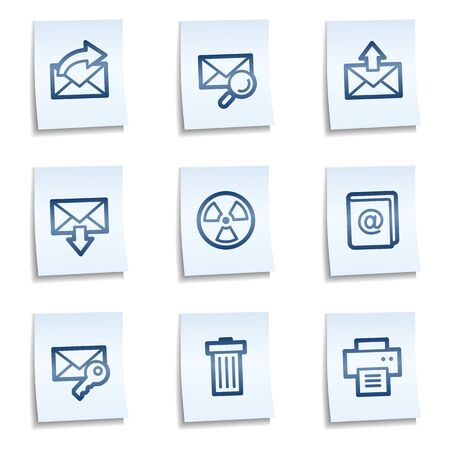 E-mail web icons set 2,  blue notes Vector