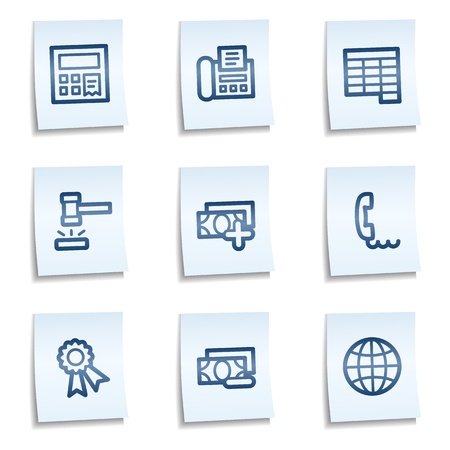 Finance web icons set 2,  blue notes