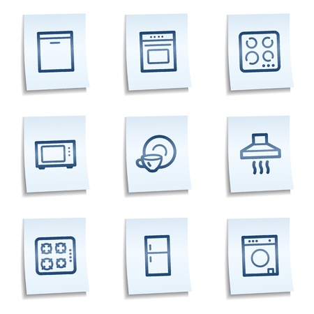 gas laundry: Home appliances web icons, blue notes