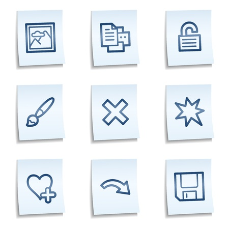 Image viewer web icons set 2, blue notes Vector
