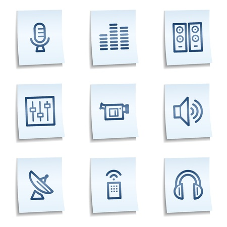 tv remote: Media web icons, blue notes