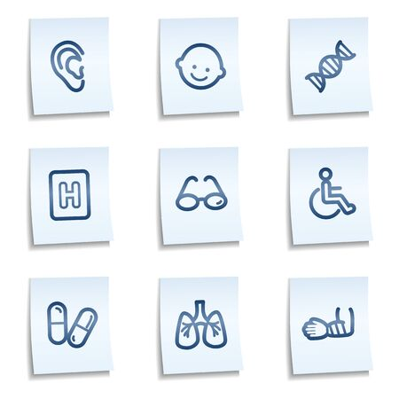 medicina: Medicina web icons set 2, blue notes