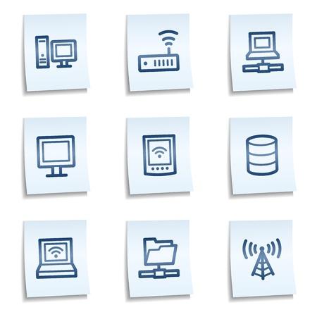 Netwerk web pictogrammen, blauwe notities