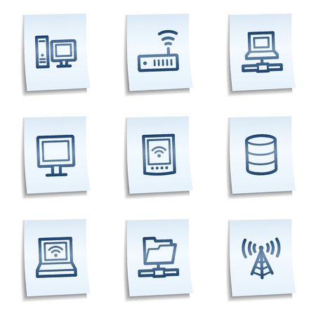 access control: Network web icons, blue notes