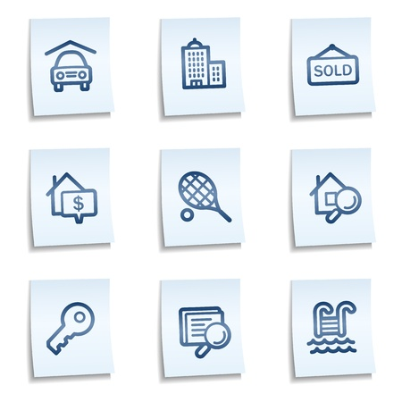 swimming pool home: Real estate web icons, blue notes Illustration
