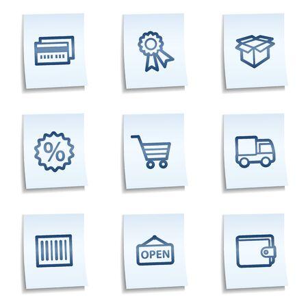 billfold: Shopping web icons set 2, blue notes  Illustration