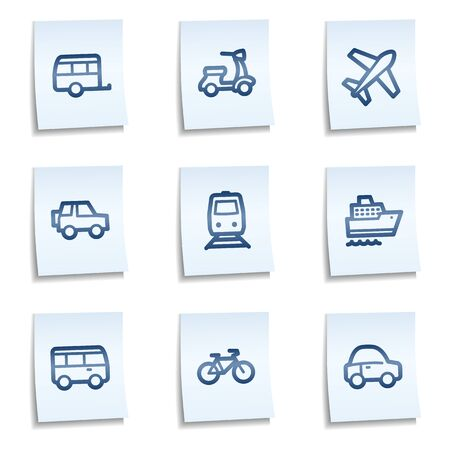 air liner: Transport web icons, blue notes Illustration