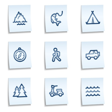 Travel web icons set 3, blue notes  Vector