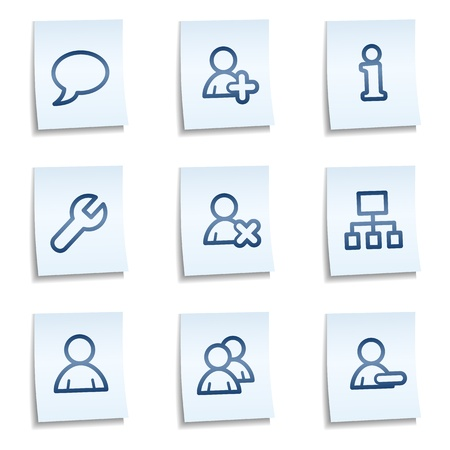 feedback sticker: Users web icons, blue notes
