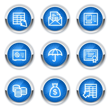 Banking web icons, blue buttons Vector
