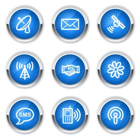 Communication web icons, blue buttons