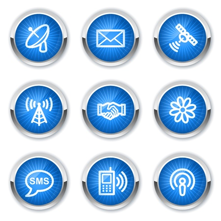 wifi access: Icone comunicazione web, pulsanti blu
