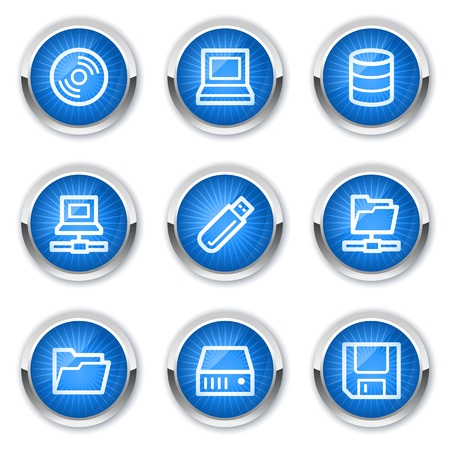 share icon: Drives and storage web icons, blue buttons Illustration