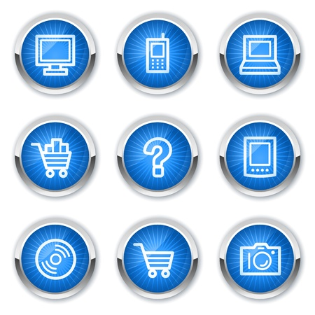 pc icon: Electronics web icons set 1, blue buttons