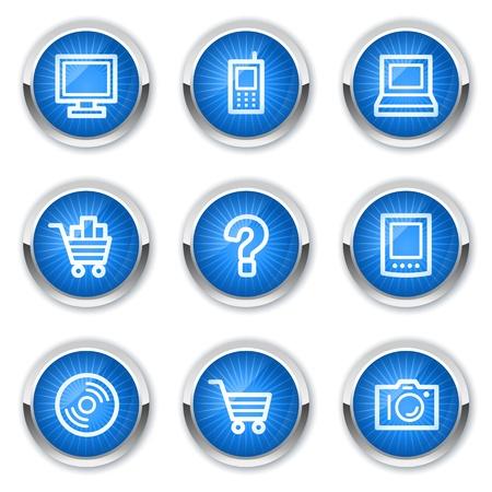 pda: Electronics web icons set 1, blue buttons