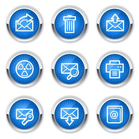 E-mail web icons set 2, blue  buttons Stock Vector - 10659433