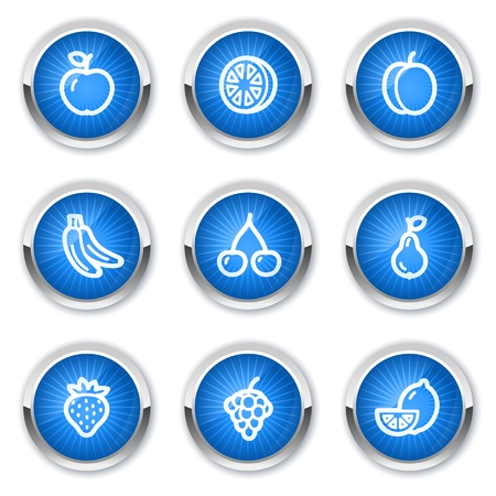 Fruits web icons, blue buttons Vector