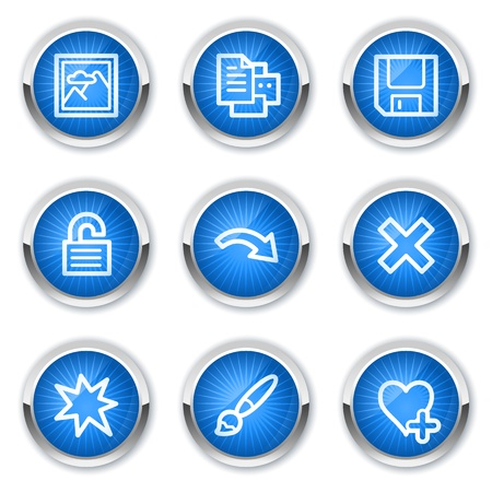 and viewer: Image viewer web icons set 2, blue buttons