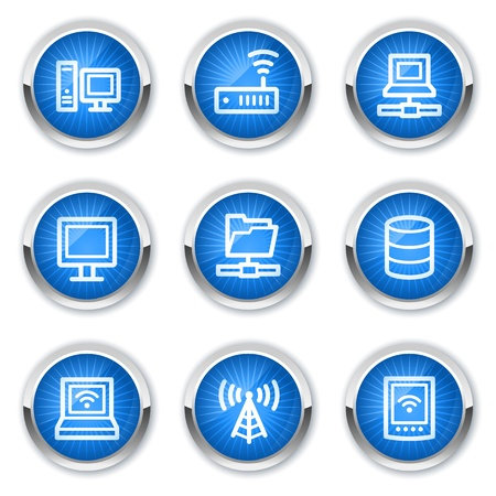 Network web icons, blue buttons