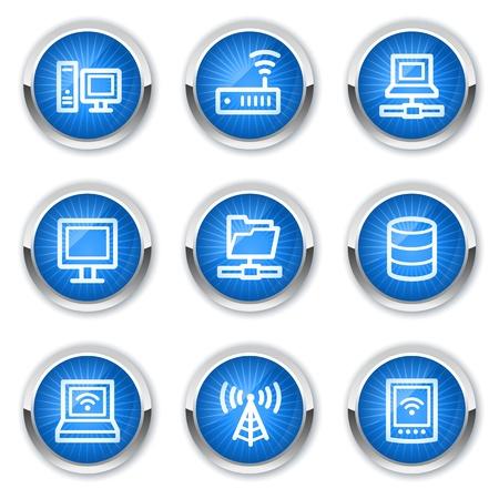 agenda electr�nica: Red de iconos web, botones de color azul