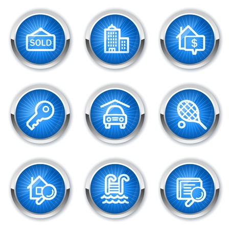 sold sign: Real estate web icons, blue buttons