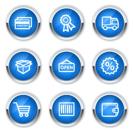 billfold: Shopping web icons set 2, blue  buttons Illustration