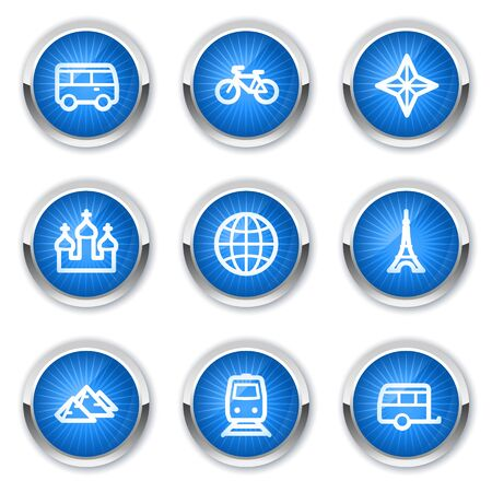 Travel web icons set 2, blue  buttons Vector