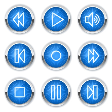 Walkman web icons, blue buttons Stock Vector - 10659417