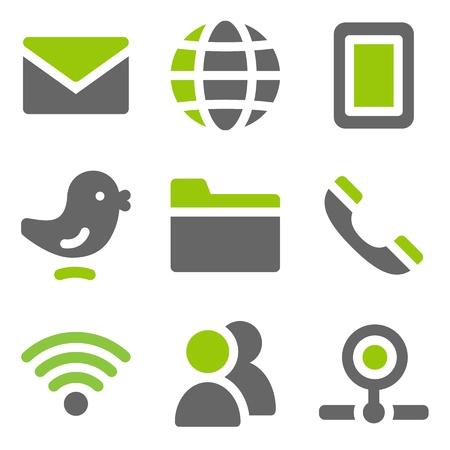 contact icon: Communicatie web pictogrammen, groene grijze stevige pictogrammen