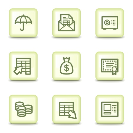 Banking  web icons, salad green buttons Vector