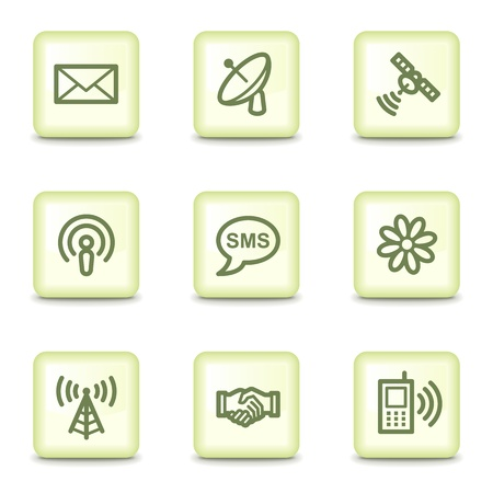 Communication web icons, salad green buttons Vector