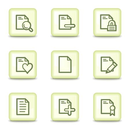 Document web icons set 2, salad green buttons Stock Vector - 11379790