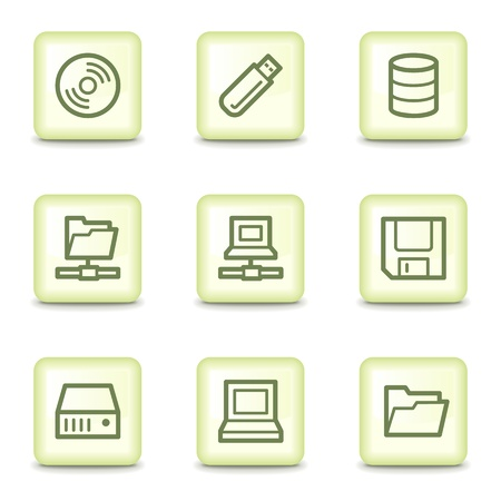 Drives and storage web icons, salad green buttons Vector