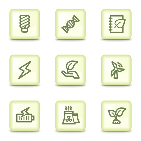 Ecology web icons set 5, salad green buttons Stock Vector - 11379810