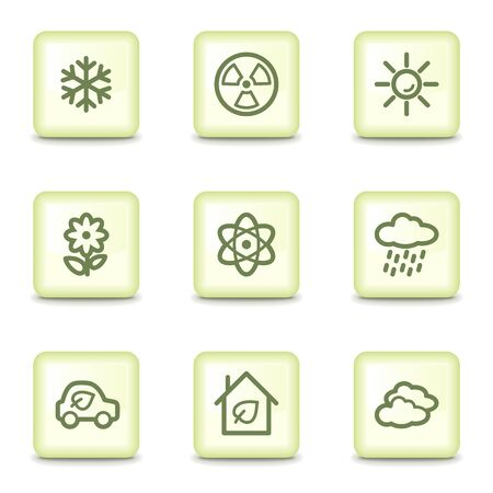 Ecology web icons set 2, salad green buttons Stock Vector - 11379823