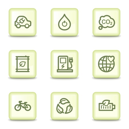 electro world: Ecology web icons set 4, salad green buttons