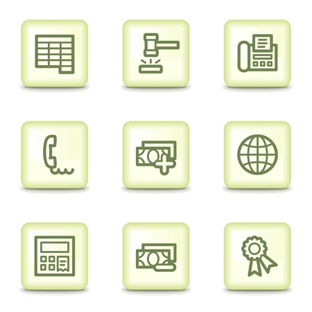 Finance web icons set 2, salad green buttons Vector