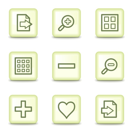 preview: Image viewer web icons set 1, salad green buttons Illustration