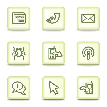 Internet web icons set 2, salad green buttons Stock Vector - 11379800