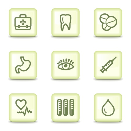 oculist: Medicine web icons set 1, salad green buttons