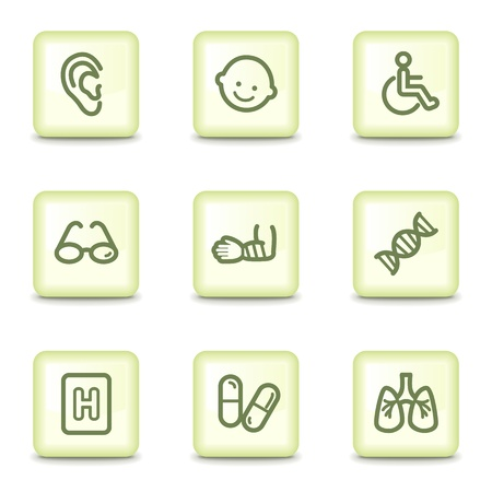 Medicine web icons set 2, salad green buttons Vector
