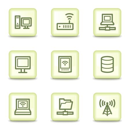 Network web icons, salad green buttons Vector