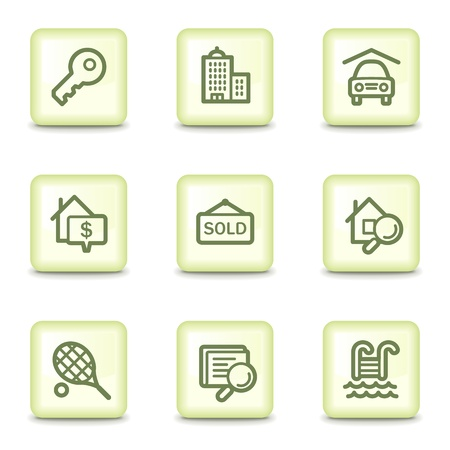 Real estate  web icons, salad green buttons Stock Vector - 11379844