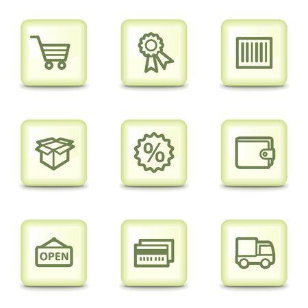 e wallet: Shopping  web icons set 2, salad green buttons